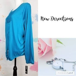 NWT NEW DIRECTIONS Blue Blouse - Women's XL